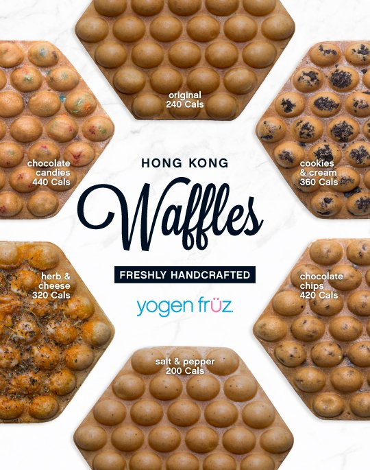 Yogen Fruz fresh to order Hong Kong Waffle Extension with 5 new sweet and savoury flavours.