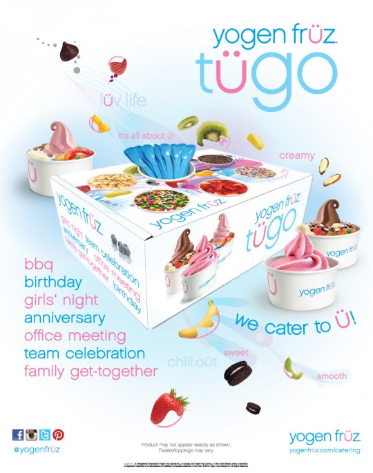 Yogen Früz catering box- frozen yogurt tügo- bbq-birthday-girls night-anniversary- office meeting- team celebration- family get together- we cater to you