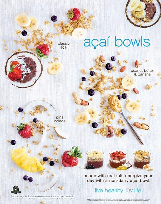 Acai bowls - classic acai, peanut butter & banana, pina colada