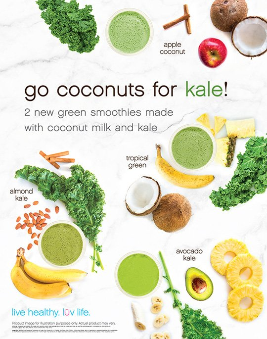 Go coco-nuts for kale - 2 new green smoothies made with coconut and kale