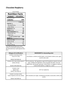 Chocolate Raspberry Smoothie- Nutrition Sheet- Canada Version