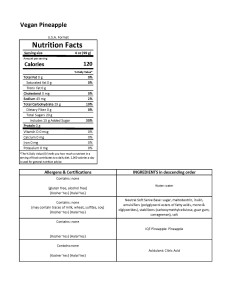 Vegan Pineapple Soft Serve- Nutrition Sheet- USA Version